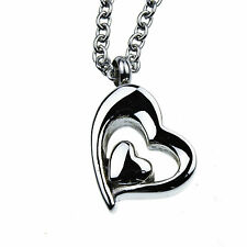 Heart in Heart Memorial Cremation Jewelry Urn Necklace for Ash 24 inch Chain
