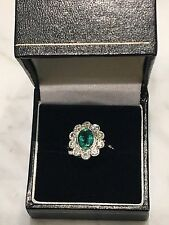 18ct. 18k. 750. White Gold, Emerald & Diamond Ring. Size Q. U.S. size 81/2.
