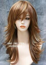 Straight Flip Flare out wig layers bangs Lite Red Blonde mix HHJS RS29