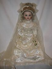 "Gorgeous 21"" Bisque Reproduction Bru Doll Beautifully Dressed Victorian Bride"