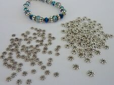 200 pce Antique Silver Daisy Spacer Beads 4mm & 6mm Size Mix