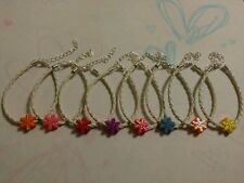 Girls Party Bag Fillers - 8 Frozen Inspird Acrylic Snowflake Charms Bracelets
