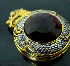 Mens Golden Chinese Dragon Jewel Gemstone Rare Special Design Pocket Watch+Chain