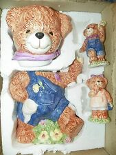 NEW Vintage 1990's Teddy Bear Ceramic Cookie Jar & Salt / Pepper Shakers Set