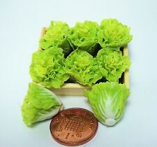 1:12th Wooden Tray Of Fresh Lettuce( 6) Dollhouse Miniatures