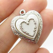 Vtg 925 Sterling Silver Mother-Of-Pearl Heart Locket Pendant
