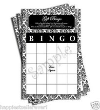 50 Gift Bingo game sheets bridal baby shower black and white damask bride blank