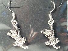 Handmade Silver Tone Dangling Cat Kitten Drop Style Hook Earrings Jewelry
