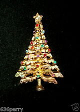 Vintage Marcel Boucher Christmas Tree Pin Multi-Color Rhinestones Book Piece