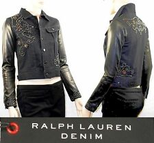 "$1,995 POLO Ralph Lauren sz 2 (33"" Bust) Leather Sleeve Studded Denim Jacket NWT"