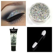 Glitter Eyeshadow Holographic Silver + Fixative Fix Gel Glue + Wand Glitter Eyes