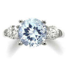 Engagement Ring Diamond Aquamarine 14k White Gold Free  Shipping #R699M