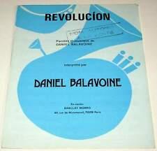 Partition vintage Promo sheet music DANIEL BALAVOINE : Revolucion * 1983