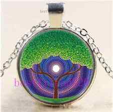 Happy Tree of Life Cabochon Glass Tibet Silver Chain Pendant Necklace#B64