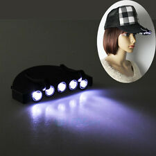 NEW Clip-On 5 LED Head Lights Lamp Cap Hat Camping Torch w/Clip Hand Free