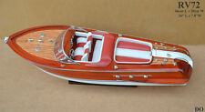 "RV72 # WOOD WOODEN SPEED BOAT SHIP MODEL  for display 66cm (26"") - High quality"