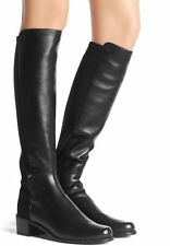 Stuart Weitzman Boot 5050 MEZZAMEZZA Flat Stretch Tall Black Nappa Bootie 9