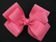 hair bows ribbon girl accessories head clips double hot pink large classic bow