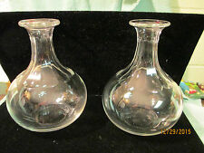VINTAGE PAIR PILLAR PATTERN CUT CRYSTAL GLASS CORDIAL DECANTER - NO STOPPER