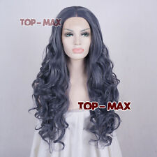 """26"""" Long Dark Gray Curly Synthetic Hair Fashion Women Lace Front Wig + Wig Cap"""