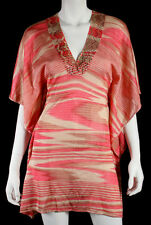 MISSONI Hot Pink & Peach Abstract Striped Knit Kaftan Coverup Dress 38