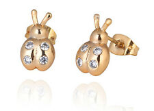 18 k Gold Plated Stud Earrings for Small Girls or Women White Ladybirds E753