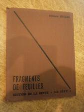 E. Huszar Fragments de feuilles Editions de la  revue La Sève Poésies