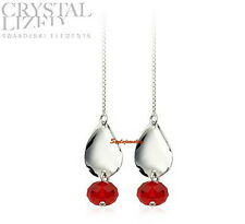 925 Sterling Silver Ruby Red Swarovski Crystal Ball Women's Thread Earring XE108
