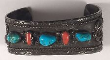 Vintage Native Indian Sterling Silver Turquoise Coral Bracelet Cuff