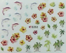 Nail Art 3D Decal Stickers Dolphins Tropical Flowers Palm Trees Bubbles E252