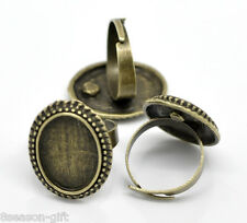 10 Bronze Tone Adjustable Oval Cabochon Ring Settings 17.5mm US 7 (Fit 18x13mm)