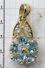PE086- Genuine 9K Gold Natural Blue Topaz & Diamond Heart Blossom Drop Pendant
