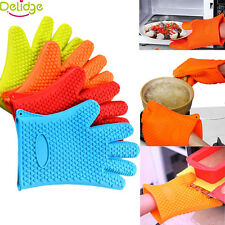 Green Heat Resistant Silicone Gloves Oven Kitchen Grill BBQ Cooking Mitts