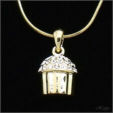 Mini Cupckae Baker Charm Cake Pendant Necklace Crystal Clear 3D Gold Tone Jewelr