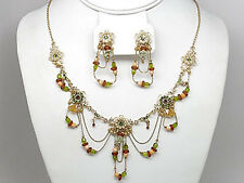 9f Vintage Drape Green Flower Swarovski Elements Crystal Floral Necklace Set -