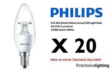 20 x Philips 4W (25W) E14 SES Small Screw Candle LED Lamp Bulbs 2700K Warm White