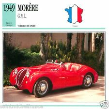 MORERE  G.M.L. 1949 CAR  VOITURE FRANCE CARTE CARD FICHE