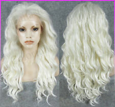 New Long Water Wavy white Frontal lace full wig Big Curly silver Lace front wigs
