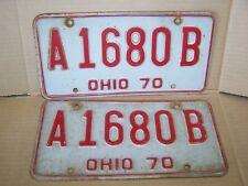 Ohio License Plates Year 1970, Tag #A1680B, Set of Two