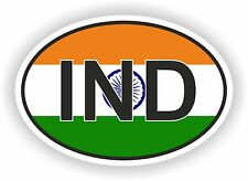 IND INDIA COUNTRY CODE OVAL WITH FLAG STICKER bumper decal car bike tablet
