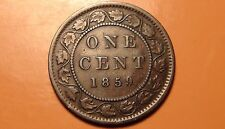 1859 Canada Large Cent Coin - RARE NEAR 9! - Victoria Era Canadian Penny - 1¢