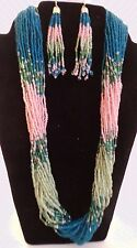 Multi-Strand Seed Bead Necklace Dangle Earrings Set Pink Teal Green