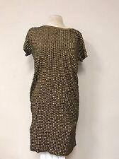 Michael Kors Medium 6/8 SEXY BRASS STUDS Gold KNIT Olive/tan Dress