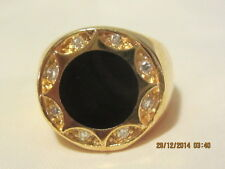 Lovely Yellow Gold Filled  signet ring - Onyx and swarovski crystal - Size 10