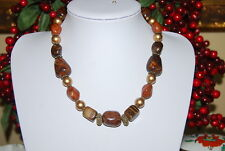 BEAUTIFUL STATEMENT LARGE NECKLACE OF SEMI PRECIOUS STONES ACRYLIC GOLDEN BEADS
