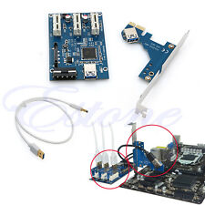 PCI-e Express 1X to 3 Port 1X Switch Multiplier HUB Riser Card +USB Cable Hot