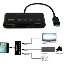 5IN1 Micro USB MHL to HDMI HDTV 1080p TV Adapter Cable Card Reader For Samsung