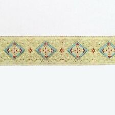 2 METRES 12mm PATTERNED EMBROIDERED RIBBON TRIM CREAM/BLUE DESIGN REB047