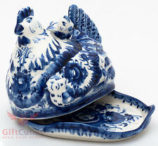 Gzhel Porcelain butter dish Маслёнка server plate holder Hand-painted chicken