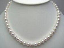 "8mm - Akoya White Shell Pearl Gold Clasp Necklace..18"" - Gift Boxed"